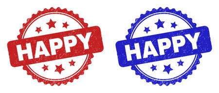 Rosette HAPPY stamps. Flat vector distress watermarks with HAPPY caption inside rosette with stars, in blue and red color versions. Watermarks with distress surface.