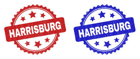 Rosette HARRISBURG seal stamps. Flat vector scratched watermarks with HARRISBURG title inside rosette with stars, in blue and red color versions. Watermarks with corroded style.