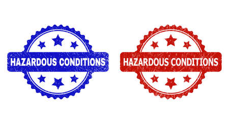 Rosette HAZARDOUS CONDITIONS watermarks. Flat vector distress watermarks with HAZARDOUS CONDITIONS phrase inside rosette shape with stars, in blue and red color variants.