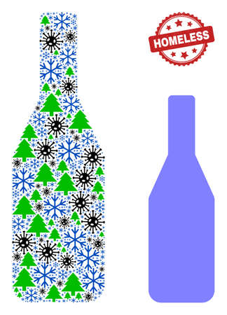 Winter Covid composition wine bottle, and dirty Homeless red rosette seal. Collage wine bottle is constructed with covid- 2019 virus, fir-tree, and snow flake icons.