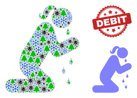 Winter Covid-2019 composition crying praying woman, and unclean Debit red rosette stamp. Collage crying praying woman is done with Covid-2019, forest, and snow icons. Red Debit seal uses rosette form.