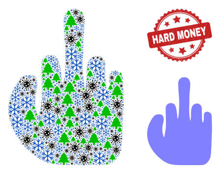 Winter Covid combination finger, and grunge Hard Money red rosette stamp print. Collage finger is designed with covid- 2019 virus, green tree, and snowflake items. Vektoros illusztráció