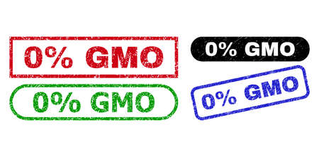0% GMO grunge watermarks. Flat vector grunge stamps with 0% GMO phrase inside different rectangle and rounded frames, in blue, red, green, black color versions. Watermarks with grunge surface. Ilustrace