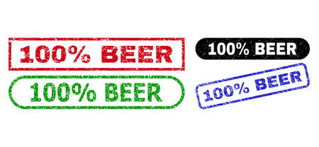 100% BEER grunge seal stamps. Flat vector grunge watermarks with 100% BEER message inside different rectangle and rounded forms, in blue, red, green, black color versions.