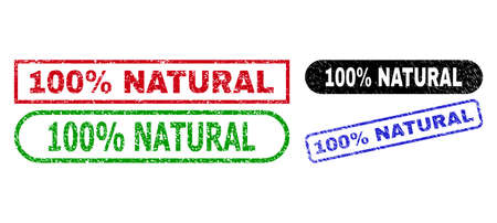 100% NATURAL grunge seal stamps. Flat vector grunge stamps with 100% NATURAL slogan inside different rectangle and rounded frames, in blue, red, green, black color variants.
