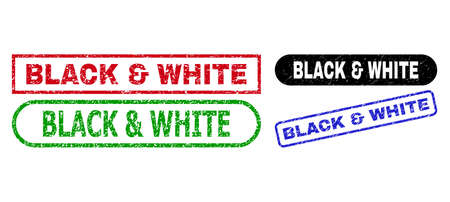 BLACK & WHITE grunge seals. Flat vector scratched seals with BLACK & WHITE text inside different rectangle and rounded shapes, in blue, red, green, black color variants. Imprints with grunge surface. Illustration