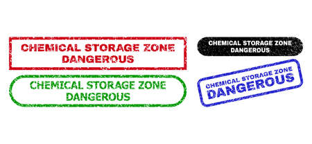 CHEMICAL STORAGE ZONE DANGEROUS grunge seal stamps. Flat vector grunge watermarks with CHEMICAL STORAGE ZONE DANGEROUS caption inside different rectangle and rounded frames.