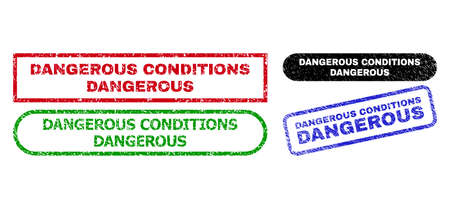 DANGEROUS CONDITIONS grunge watermarks. Flat vector grunge watermarks with DANGEROUS CONDITIONS text inside different rectangle and rounded shapes, in blue, red, green, black color versions.