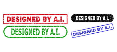 DESIGNED BY A.I. grunge seal stamps. Flat vector textured seal stamps with DESIGNED BY A.I. title inside different rectangle and rounded forms, in blue, red, green, black color variants.