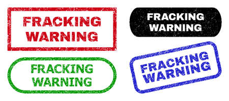 FRACKING WARNING grunge stamps. Flat vector grunge watermarks with FRACKING WARNING text inside different rectangle and rounded forms, in blue, red, green, black color variants.