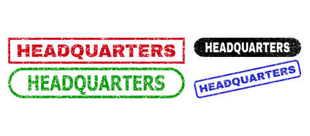 HEADQUARTERS grunge watermarks. Flat vector scratched seals with HEADQUARTERS phrase inside different rectangle and rounded forms, in blue, red, green, black color variants.