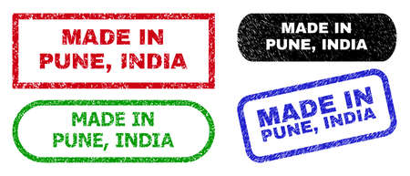 MADE IN PUNE, INDIA grunge stamps. Flat vector grunge stamps with MADE IN PUNE, INDIA message inside different rectangle and rounded shapes, in blue, red, green, black color versions.