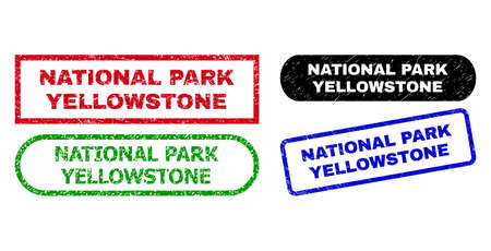 NATIONAL PARK YELLOWSTONE grunge seal stamps. Flat vector scratched watermarks with NATIONAL PARK YELLOWSTONE slogan inside different rectangle and rounded frames.