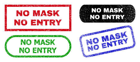 NO MASK NO ENTRY grunge seal stamps. Flat vector grunge seal stamps with NO MASK NO ENTRY message inside different rectangle and rounded shapes, in blue, red, green, black color versions. Ilustracje wektorowe