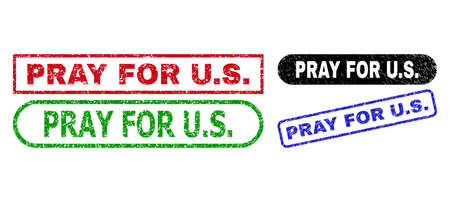 PRAY FOR U.S. grunge watermarks. Flat vector scratched stamps with PRAY FOR U.S. tag inside different rectangle and rounded shapes, in blue, red, green, black color variants.