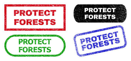 PROTECT FORESTS grunge seal stamps. Flat vector grunge seal stamps with PROTECT FORESTS phrase inside different rectangle and rounded forms, in blue, red, green, black color versions.