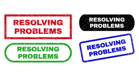 RESOLVING PROBLEMS grunge watermarks. Flat vector grunge watermarks with RESOLVING PROBLEMS caption inside different rectangle and rounded frames, in blue, red, green, black color versions. Stock Illustratie