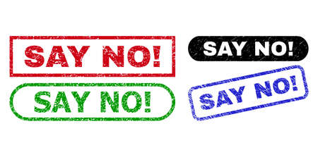 SAY NO! grunge seal stamps. Flat vector distress seal stamps with SAY NO! caption inside different rectangle and rounded frames, in blue, red, green, black color versions.