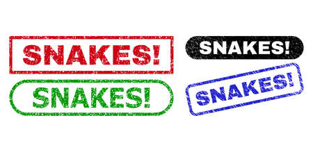 SNAKES! grunge seals. Flat vector grunge stamps with SNAKES! slogan inside different rectangle and rounded forms, in blue, red, green, black color versions. Watermarks with grunge texture.