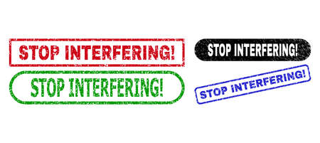 STOP INTERFERING! grunge watermarks. Flat vector grunge stamps with STOP INTERFERING! message inside different rectangle and rounded frames, in blue, red, green, black color variants.