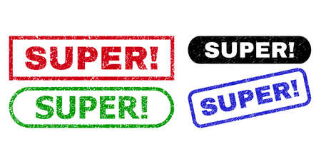 SUPER! grunge seals. Flat vector grunge watermarks with SUPER! phrase inside different rectangle and rounded frames, in blue, red, green, black color variants. Watermarks with scratched surface. Ilustrace
