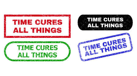 TIME CURES ALL THINGS grunge seal stamps. Flat vector distress seal stamps with TIME CURES ALL THINGS caption inside different rectangle and rounded shapes, in blue, red, green, black color variants.