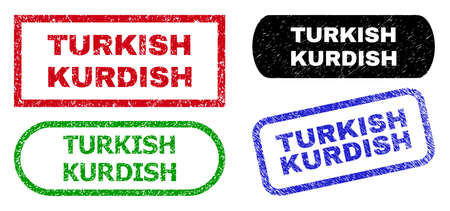 TURKISH KURDISH grunge seal stamps. Flat vector grunge seal stamps with TURKISH KURDISH caption inside different rectangle and rounded frames, in blue, red, green, black color variants.