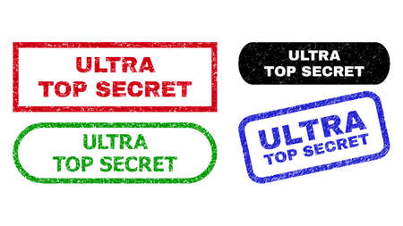 ULTRA TOP SECRET grunge stamps. Flat vector grunge seal stamps with ULTRA TOP SECRET phrase inside different rectangle and rounded shapes, in blue, red, green, black color versions.