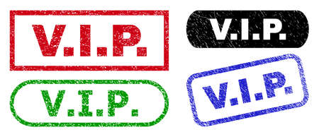 V.I.P. grunge watermarks. Flat vector grunge stamps with V.I.P. caption inside different rectangle and rounded shapes, in blue, red, green, black color variants. Rubber imitations with grunge surface. 矢量图像