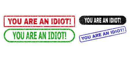 YOU ARE AN IDIOT! grunge stamps. Flat vector distress seal stamps with YOU ARE AN IDIOT! title inside different rectangle and rounded shapes, in blue, red, green, black color variants.