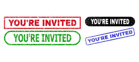 YOURE INVITED grunge watermarks. Flat vector scratched seal stamps with YOURE INVITED tag inside different rectangle and rounded frames, in blue, red, green, black color variants.