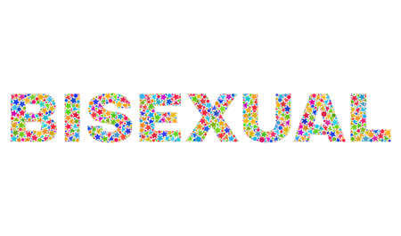 BISEXUAL text with bright mosaic flat style. Colorful vector illustration of BISEXUAL text with scattered star elements and small circles. Festive design for decoration titles. Illustration