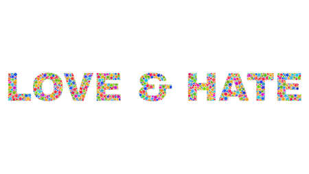 LOVE & HATE caption with bright mosaic flat style. Colorful vector illustration of LOVE & HATE caption with scattered star elements and small dots. Festive design for decoration titles.  イラスト・ベクター素材
