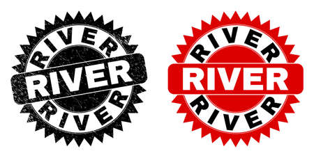 Black rosette RIVER seal. Flat vector scratched watermark with RIVER phrase inside sharp rosette, and original clean source. Watermark with scratched style.
