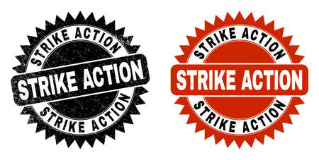 Black rosette STRIKE ACTION watermark. Flat vector distress watermark with STRIKE ACTION text inside sharp star shape, and original clean version. Watermark with distress texture.