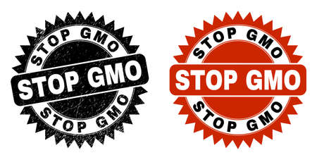 Black rosette STOP GMO watermark. Flat vector grunge watermark with STOP GMO title inside sharp rosette, and original clean source. Watermark with corroded surface.