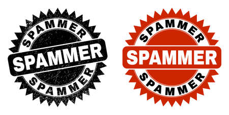 Black rosette SPAMMER seal stamp. Flat vector grunge seal stamp with SPAMMER phrase inside sharp rosette, and original clean version. Imprint with corroded surface.