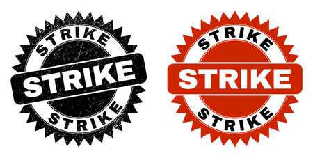 Black rosette STRIKE seal. Flat vector scratched seal with STRIKE text inside sharp star shape, and original clean version. Rubber imitation with scratched style.