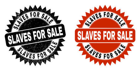 Black rosette SLAVES FOR SALE seal. Flat vector scratched stamp with SLAVES FOR SALE phrase inside sharp rosette, and original clean version. Watermark with scratched surface.