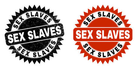 Black rosette SEX SLAVES stamp. Flat vector scratched seal stamp with SEX SLAVES message inside sharp rosette, and original clean template. Rubber imitation with unclean surface.
