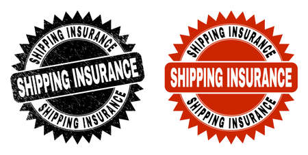 Black rosette SHIPPING INSURANCE seal stamp. Flat vector grunge seal with SHIPPING INSURANCE phrase inside sharp rosette, and original clean version. Imprint with grunge surface. Иллюстрация