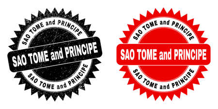 Black rosette SAO TOME AND PRINCIPE seal stamp. Flat vector distress seal with SAO TOME AND PRINCIPE caption inside sharp rosette, and original clean version. Watermark with distress style. Ilustração