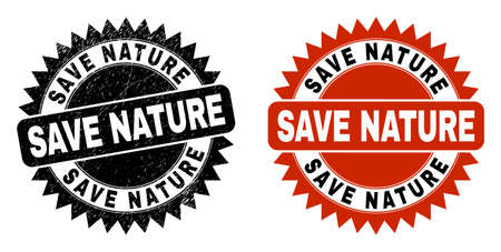 Black rosette SAVE NATURE seal stamp. Flat vector scratched seal stamp with SAVE NATURE phrase inside sharp rosette, and original clean source. Imprint with distress surface.