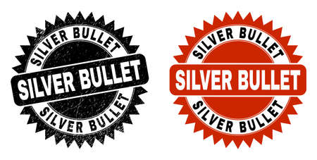 Black rosette SILVER BULLET seal. Flat vector grunge seal stamp with SILVER BULLET text inside sharp rosette, and original clean template. Watermark with distress texture.