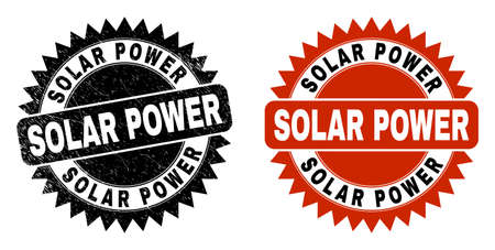 Black rosette SOLAR POWER watermark. Flat vector grunge stamp with SOLAR POWER phrase inside sharp rosette, and original clean template. Watermark with grunge texture. Ilustrace