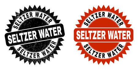 Black rosette SELTZER WATER seal. Flat vector scratched watermark with SELTZER WATER text inside sharp rosette, and original clean template. Watermark with scratched surface. Ilustrace