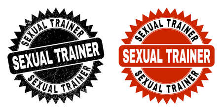 Black rosette SEXUAL TRAINER seal. Flat vector grunge seal with SEXUAL TRAINER phrase inside sharp rosette, and original clean template. Watermark with distress style. Ilustrace