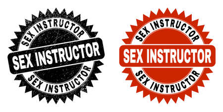 Black rosette SEX INSTRUCTOR watermark. Flat vector scratched watermark with SEX INSTRUCTOR text inside sharp rosette, and original clean source. Watermark with unclean surface.