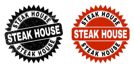 Black rosette STEAK HOUSE stamp. Flat vector distress stamp with STEAK HOUSE text inside sharp rosette, and original clean version. Watermark with distress style.