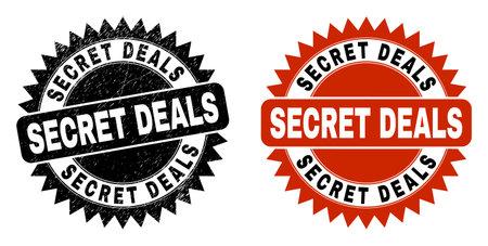 Black rosette SECRET DEALS seal stamp. Flat vector distress seal stamp with SECRET DEALS phrase inside sharp rosette, and original clean source. Watermark with distress texture. Ilustrace
